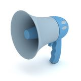 Bullhorn. A blue bullhorn, isolated over white, with a soft shadow Stock Photo
