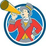 Κινούμενα σχέδια κύκλων Bullhorn παρουσηαστών προγράμματος τσίρκου τσίρκων Στοκ Φωτογραφία