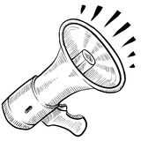 Bullhorn or announcement sketch Royalty Free Stock Images