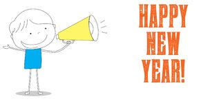 Bullhorn holding boy, Happy New Year, cartoon style illustration Stock Images
