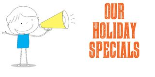 Bullhorn holding boy with Our Holiday Specials, cartoon style il Stock Images