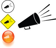 Bullhorn or megaphone symbol sign and button Stock Images