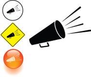 Bullhorn or megaphone symbol sign and button stock illustration