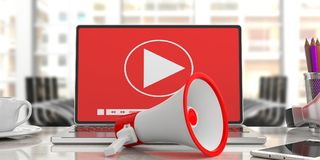 Megaphone, bullhorn and Video player on a computer screen. Blurred office background, close up view. 3d illustration. Bullhorn, megaphone and Video player online Stock Images