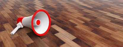 Bullhorn, megaphone white with red details on wooden floor background, front view, banner, copy space. 3d illustration Stock Images