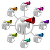 Bullhorn People Spreading the Word Royalty Free Stock Image