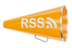Bullhorn with RSS logo, 3D rendering. Isolated on white background Royalty Free Stock Photography