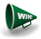 Bullhorn - Win. A green bullhorn with the word win on the side of it Stock Photography