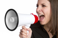 Bullhorn Woman Royalty Free Stock Images