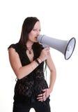 bullhornmegafon med kvinnabarn arkivfoton