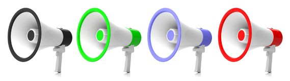 Bullhorns, megaphones collage on white background. 3d illustration. Bullhorns, megaphones collage on white background for public announcement. 3d illustration Royalty Free Stock Image