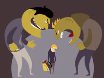 Bullies and a kid. Two monster bullies abuse a scared little child, vector illustration Stock Images