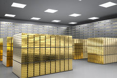 Bullion and safe deposit boxes in room Stock Photography
