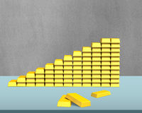 Bullion in stairs shape on desk Royalty Free Stock Photography