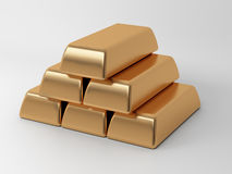 The bullions. The gold ingots on a light background Royalty Free Stock Images