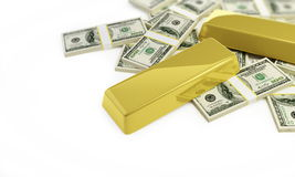 Bullions and dollars Stock Images