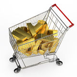 Bullions in shopping cart Royalty Free Stock Photo