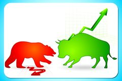 Bullish and Bearish market. Illustration of bull and bear on graph showing bullish and bearish market Stock Image