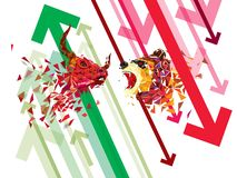 Bullish and Bearish symbols on stock market vector illustration. vector Forex or commodity charts, on abstract background. The sym. Bol of the the bull and bear royalty free illustration