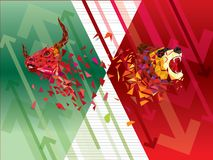 Bullish and Bearish symbols on stock market vector illustration. vector Forex or commodity charts, on abstract background. The sym. Bol of the the bull and bear stock illustration