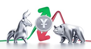 Bullish And Bearish Trends Of Yuan vector illustration