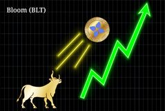 Bullish Bloom BLT cryptocurrency chart. Gold bull, throwing up Bloom BLT cryptocurrency golden coin up the trend. Bullish Bloom BLT chart Royalty Free Stock Photo