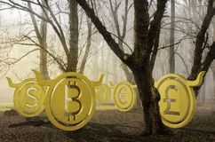 Bullish currency lost in foggy forest 3d illustration royalty free stock photo