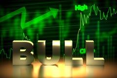 Bullish Stock Market Chart with Bull Word, 3D Rendering Royalty Free Stock Photos