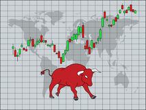 Bullish symbols on stock market vector illustration. Bullish symbols on stock market illustration Royalty Free Stock Photo