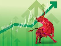 Bullish symbols on stock market vector illustration. vector Fore. X or commodity charts, on abstract background. The symbol of the the bull. The growing market vector illustration