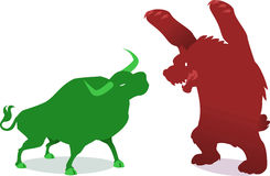 Bullish vs bearish finance economy business. Illustration about business Wall street symbols Royalty Free Stock Image