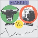 Bullish vs bearish. Illustration of market that presented in Bullish vs bearish Stock Photos