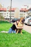 Bullmastiff женщины и собаки Стоковое фото RF