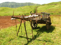 Bullock Cart. An isolated traditional bullock cart, without the bullocks in the farm Royalty Free Stock Photography