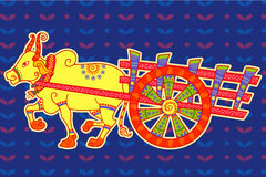 Bullock cart in Indian art style Royalty Free Stock Image