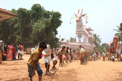 Bullock effigies in temple festival Royalty Free Stock Images