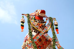 Bullock effigy. Colorful bullock effigy from an Indian temple festival  procession Royalty Free Stock Photos