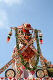 Bullock effigy. Huge colorful bullock effigy from an Indian temple festival procession Royalty Free Stock Photos
