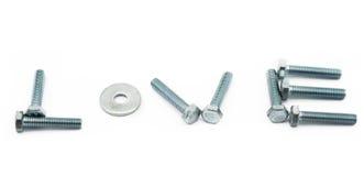 Bullone d'acciaio e spessore Fotografia Stock