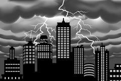 Bullone di fulmine alla città della costruzione illustrazione vettoriale