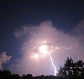 Bullone di fulmine di notte Fotografie Stock