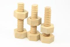 Bullone e dado di legno Fotografia Stock
