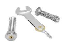 Bulloni d'acciaio con la serratura incorporata ed il tasto concettuale Fotografia Stock