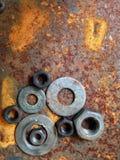 Bulloni d'acciaio dello zinco della ruggine Fotografie Stock