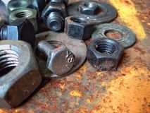 Bulloni d'acciaio dello zinco della ruggine Fotografia Stock