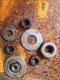 Bulloni d'acciaio dello zinco della ruggine Immagine Stock