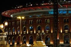 Bullring arena in Barcelona at night Stock Photos