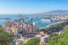 Bullring arena and port in Malaga Royalty Free Stock Images