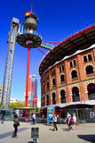 Bullring Arenas. Barcelona, Catalonia, Spain. View of Placa Espanya with bullring Arenas, nowadays a shoping center. Barcelona, Catalonia, Spain Stock Photography