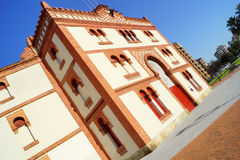 Bullring a. Bullring in an Asturian town with blue sky and sunlight Royalty Free Stock Photo